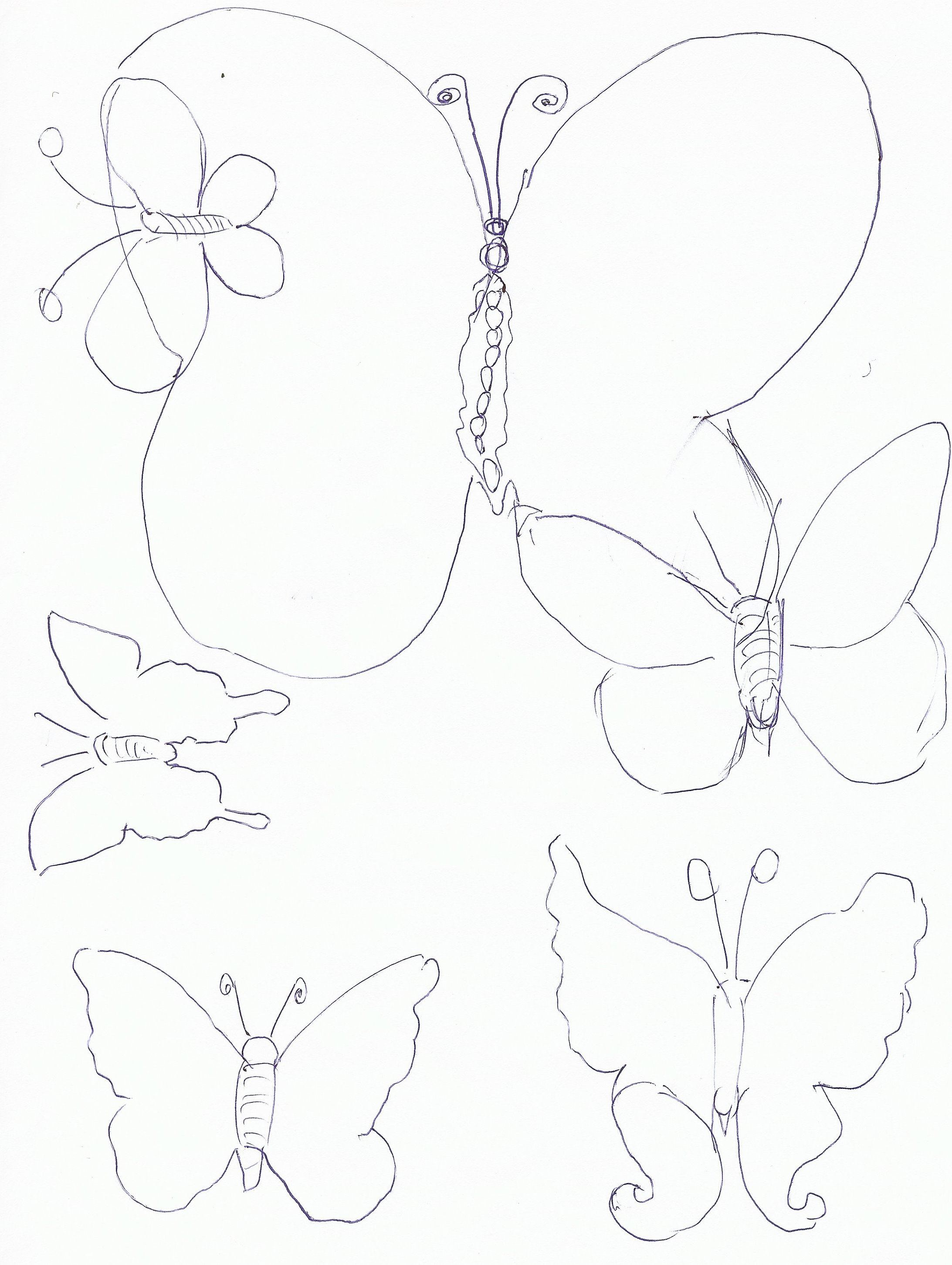 using this butterfly template cut out 4 butterflies of each size out