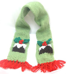 knitted plum pudding christmas scarf