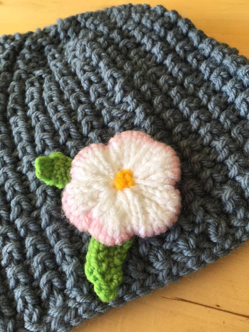 Knitting Pattern For Beanie With Flower : Knitted Flower For Beanies - Knitting Patterns - craftbits.com