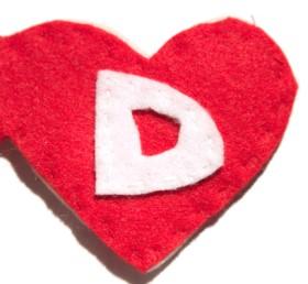 Letter D on Felt Heart