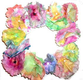 coffee filter flower wreath