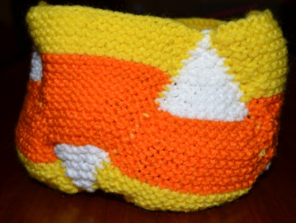 candy corn knit bowl