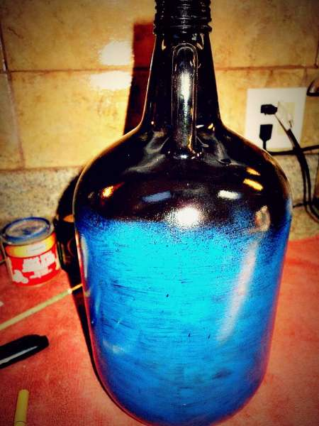 Blue & black painted bottle