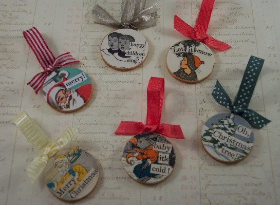 Decoupaged Wooden Christmas Ornaments — craftbits.com
