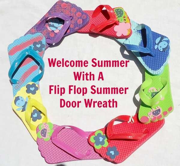 Summer Wreath made with Flip Flops