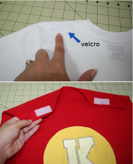 attach velcro to back of shoulders