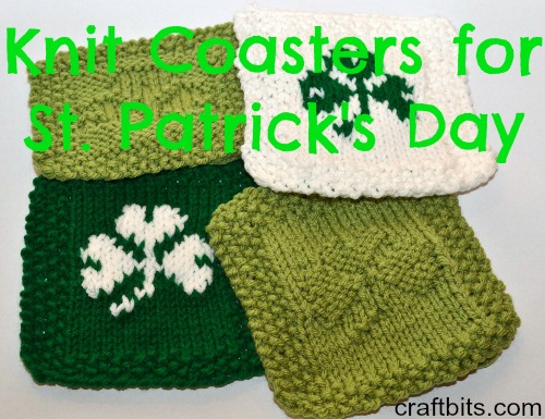 knit st. patrick's day coasters