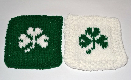 green and white shamrock coasters