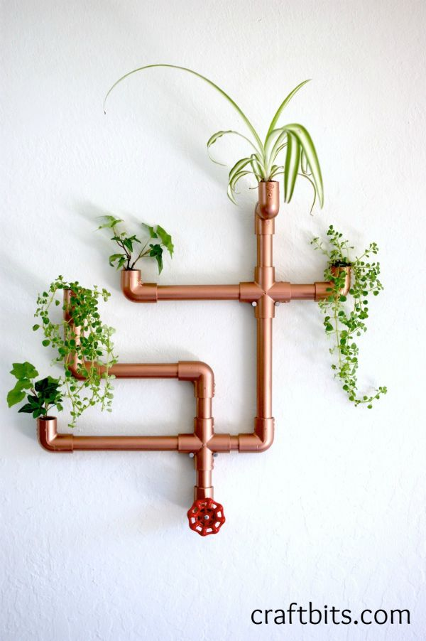 Diy copper pvc wall planter for Copper pipe projects