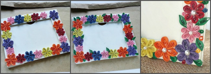 step 6 create more paper quilling flowers all around the frame try to keep a nice color combination glue the leaves between the flowers