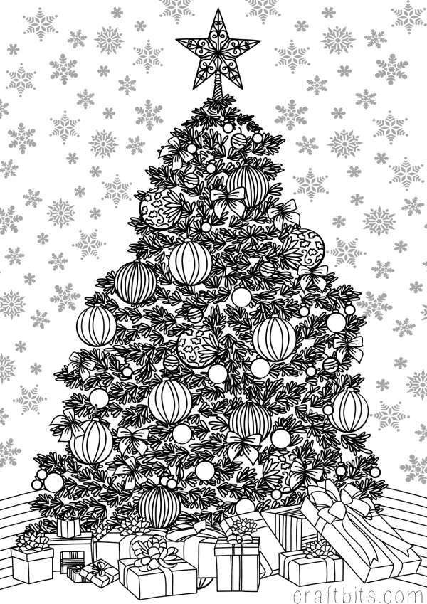 christmas detailed coloring pages | Christmas Themed Adult Coloring Sheet - craftbits.com
