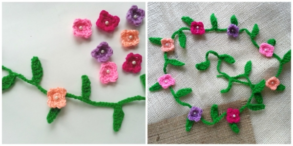 Crochet Hair Garland : ... garland or use hot glue to attach the flowers with the garland, as you